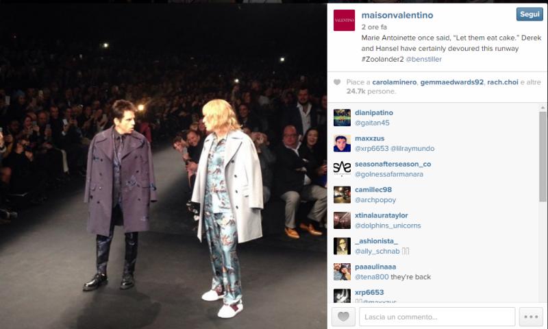 Zoolander e Valentino, co-branding in passerella alla #PFW